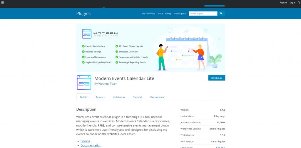 Modern Events Calendar Lite WordPress description Screenshot