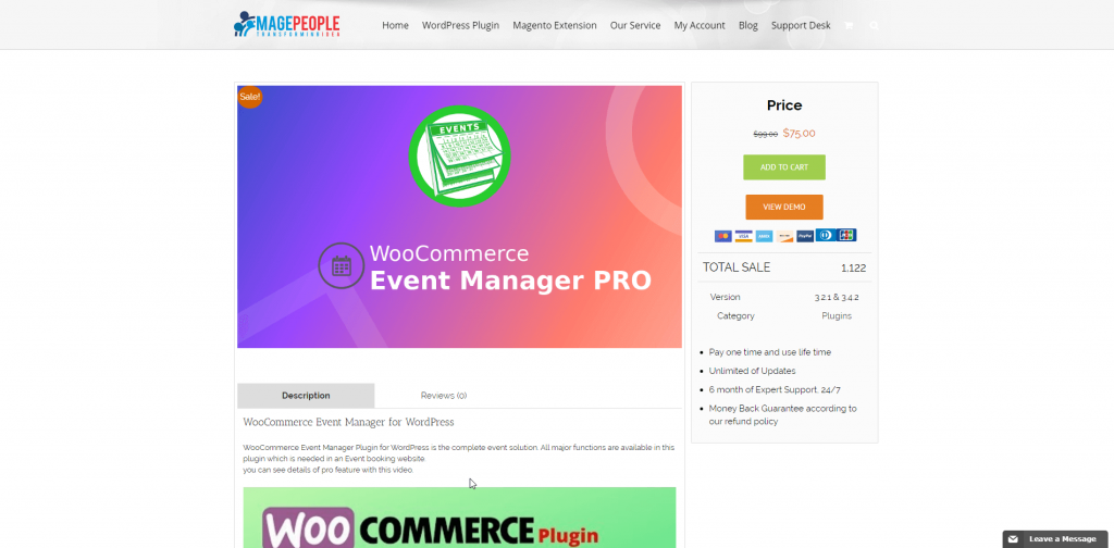 WooCommerce Event Manager Product Page Screenshot