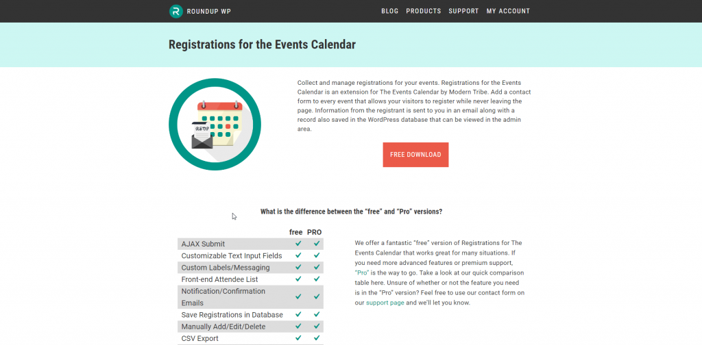 Registration for the Events calendar Page Screenshot