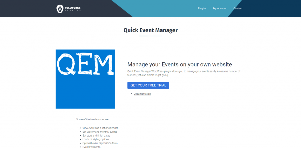 Quick Events Manager Page Screenshot