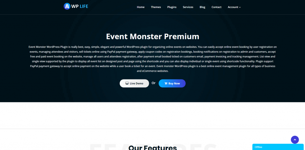 Event Monster Product Page Screenshot