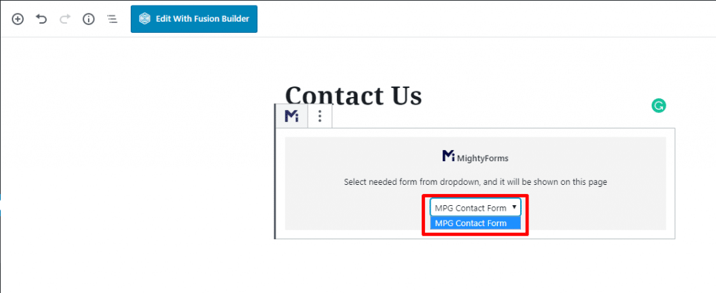 MightyForms contact form on Wordpress