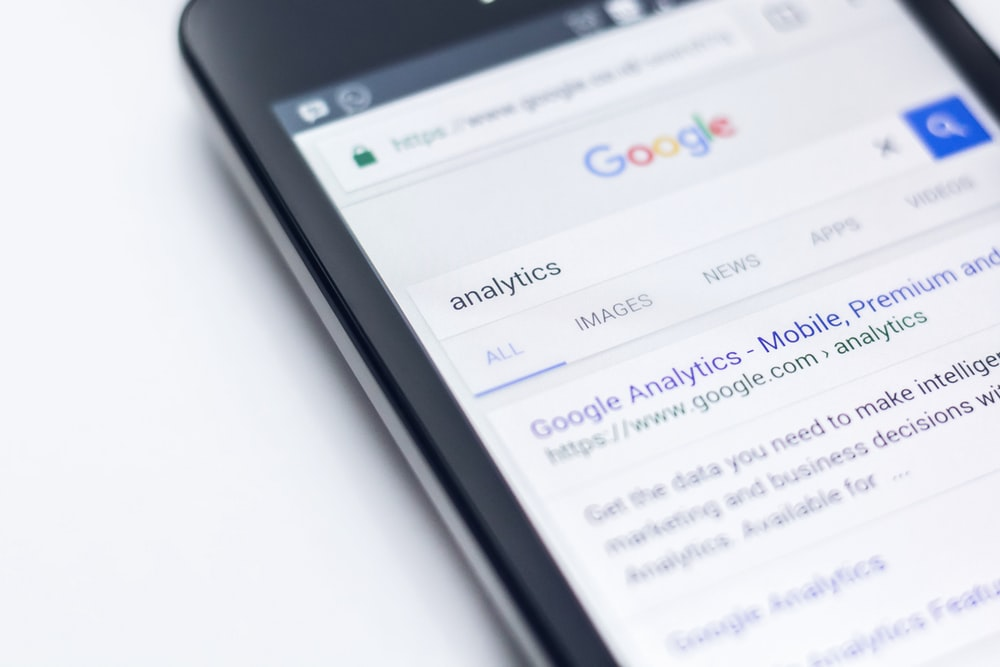smartphone showing Google search Analytics