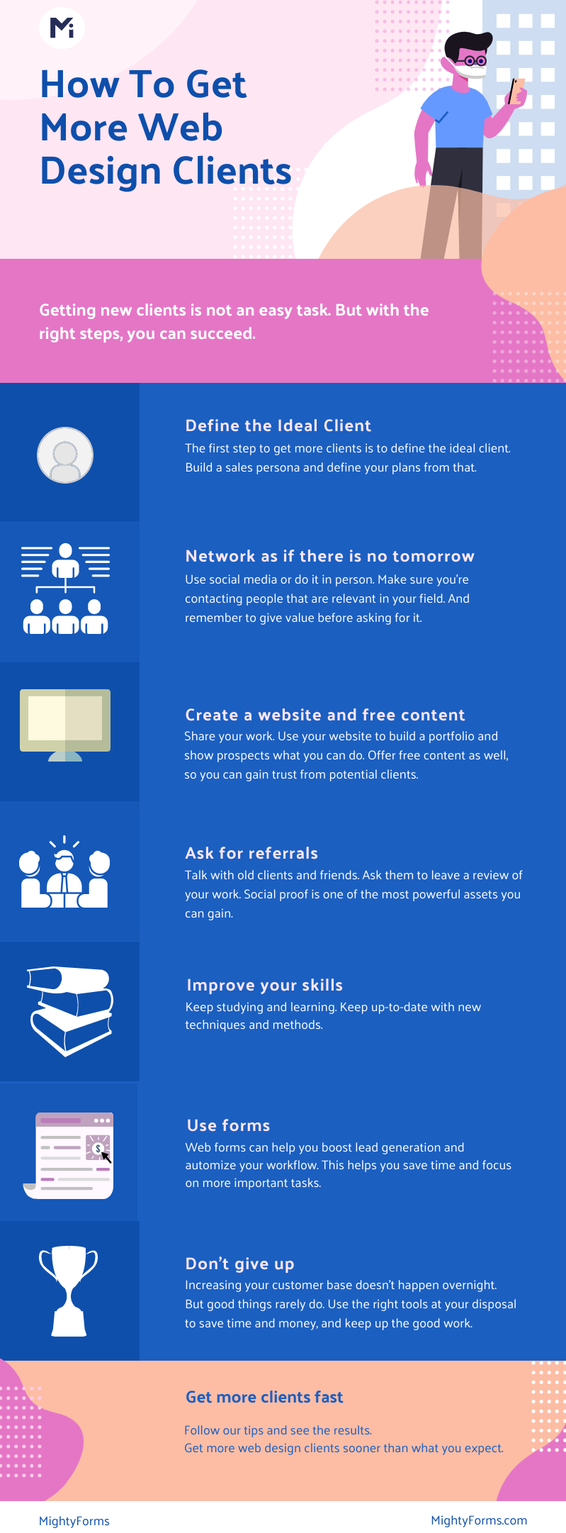 how to get more web design clients fast Infographic - MightyForms
