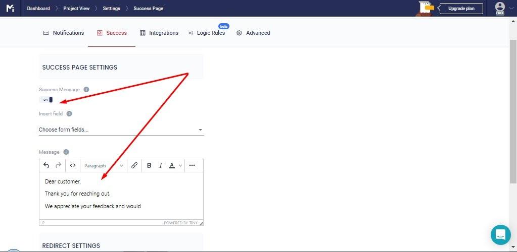 MightyForms Feedback Form Settings Step 4.1