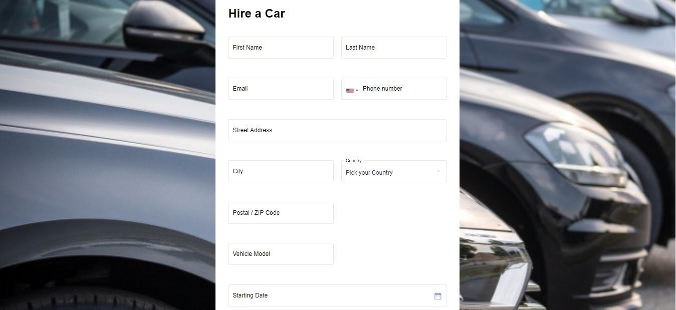 Hire a Car Form template