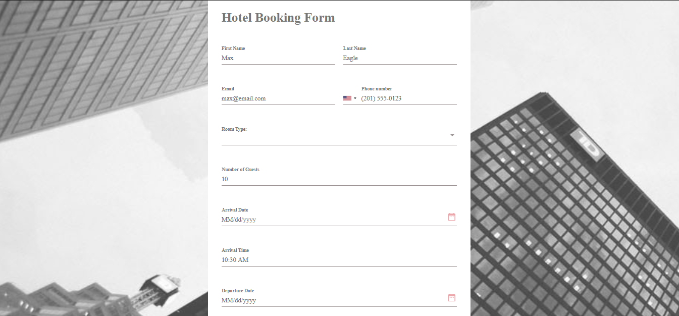Hospitality Booking Form Template MightyForms