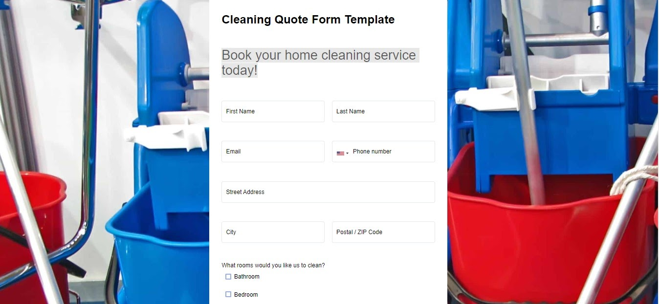 Cleaning Booking Form template