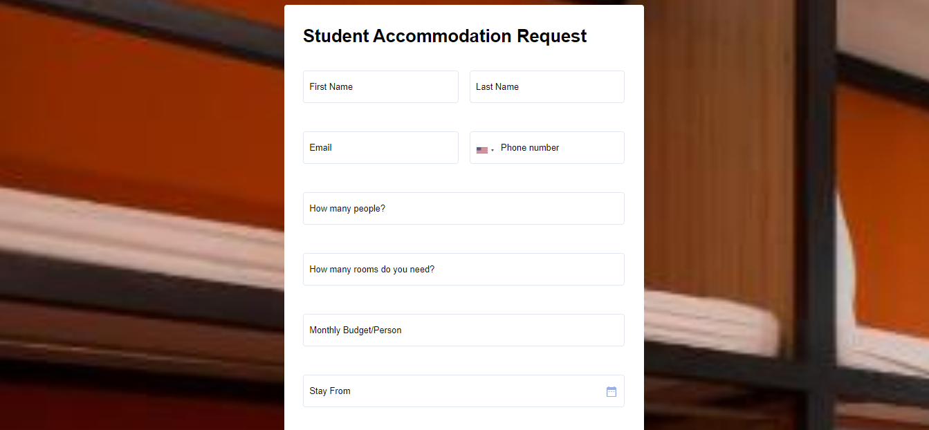 Student Accommodation Request form template MightyForms
