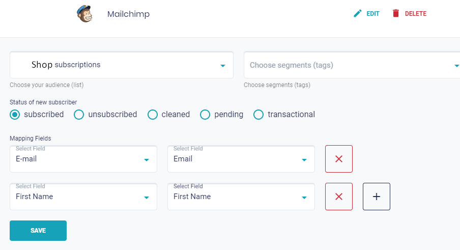 Field Mapping Mailchimp and MightyForms
