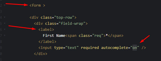 HTML Form with autocomplete ON example