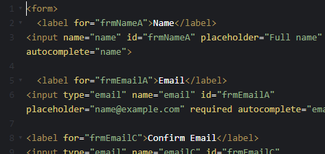 HTML form example