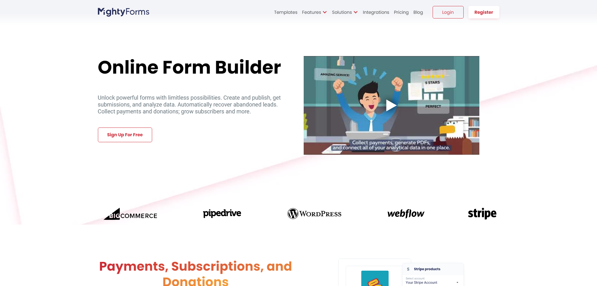 MightyForms Home Page screenshot