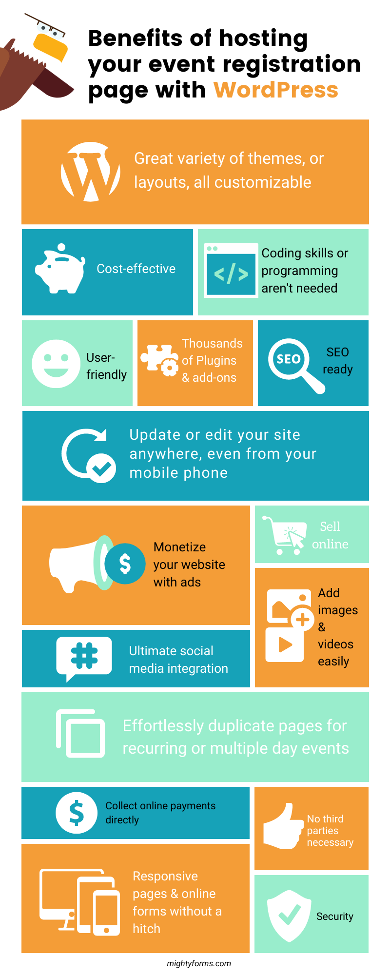 Benefits of hosting your event registration page with WordPress Infographic _ MightyForms