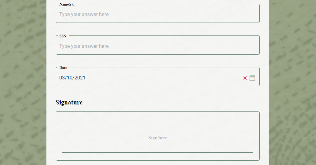 ACH Authorization Form template example with signature field