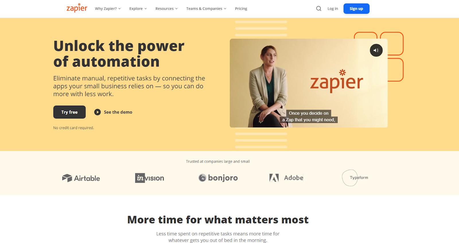Zapier home page screenshot