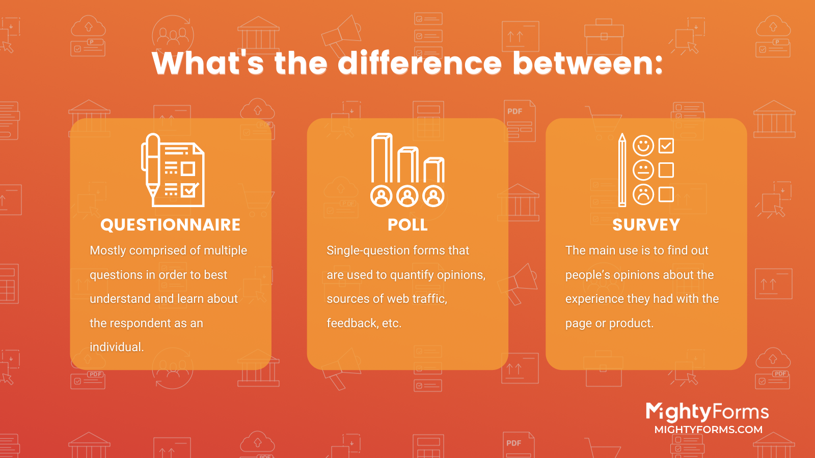 What is the difference between a Survey, a Questionnaire and a Poll_Infographic MightyForms.com