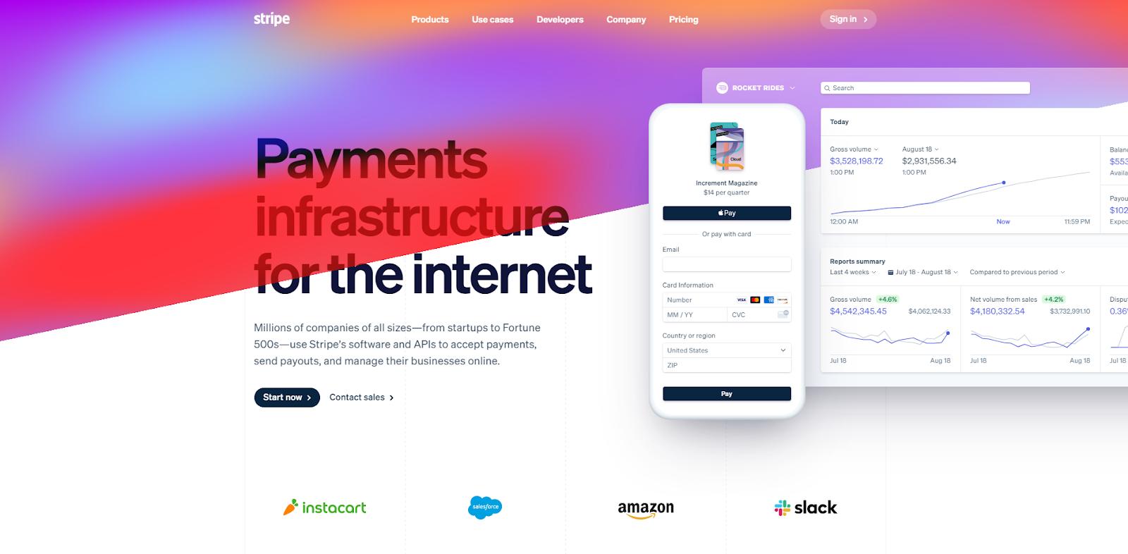 stripe.com home page