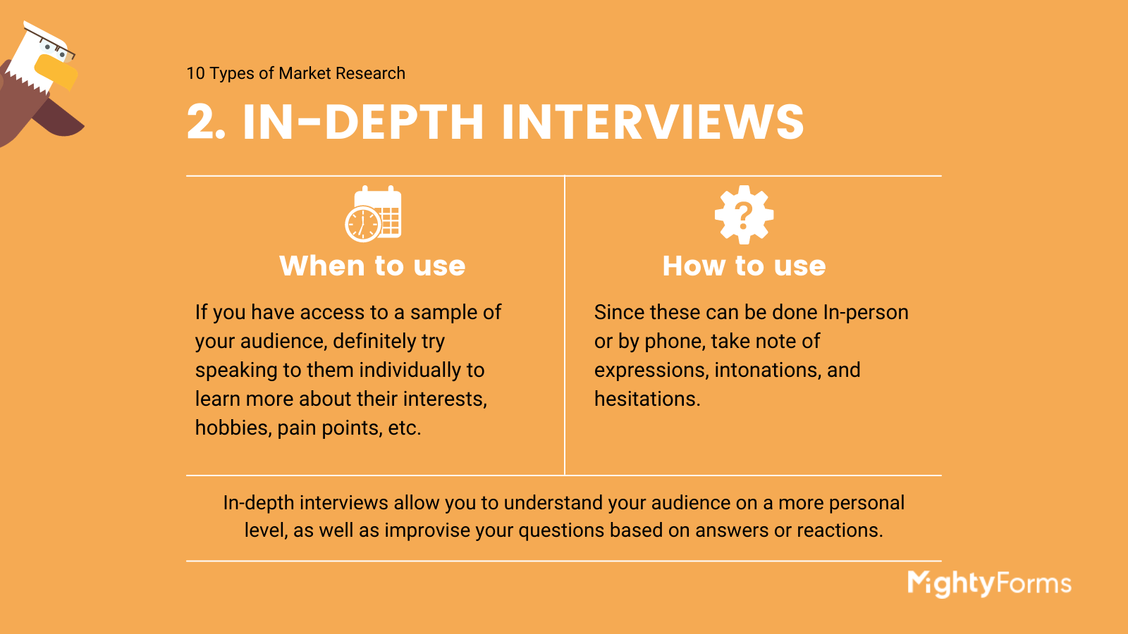 Types of Market Research - In-depth interviews - infographic_ MightyForms