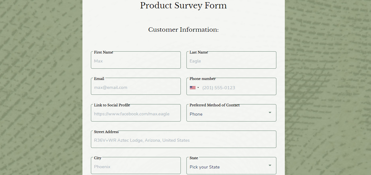 Product Survey Form template - MightyForms