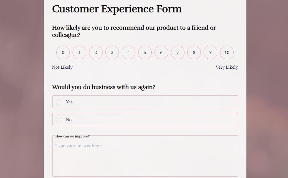 Customer Experience Feedback template _ MightyForms