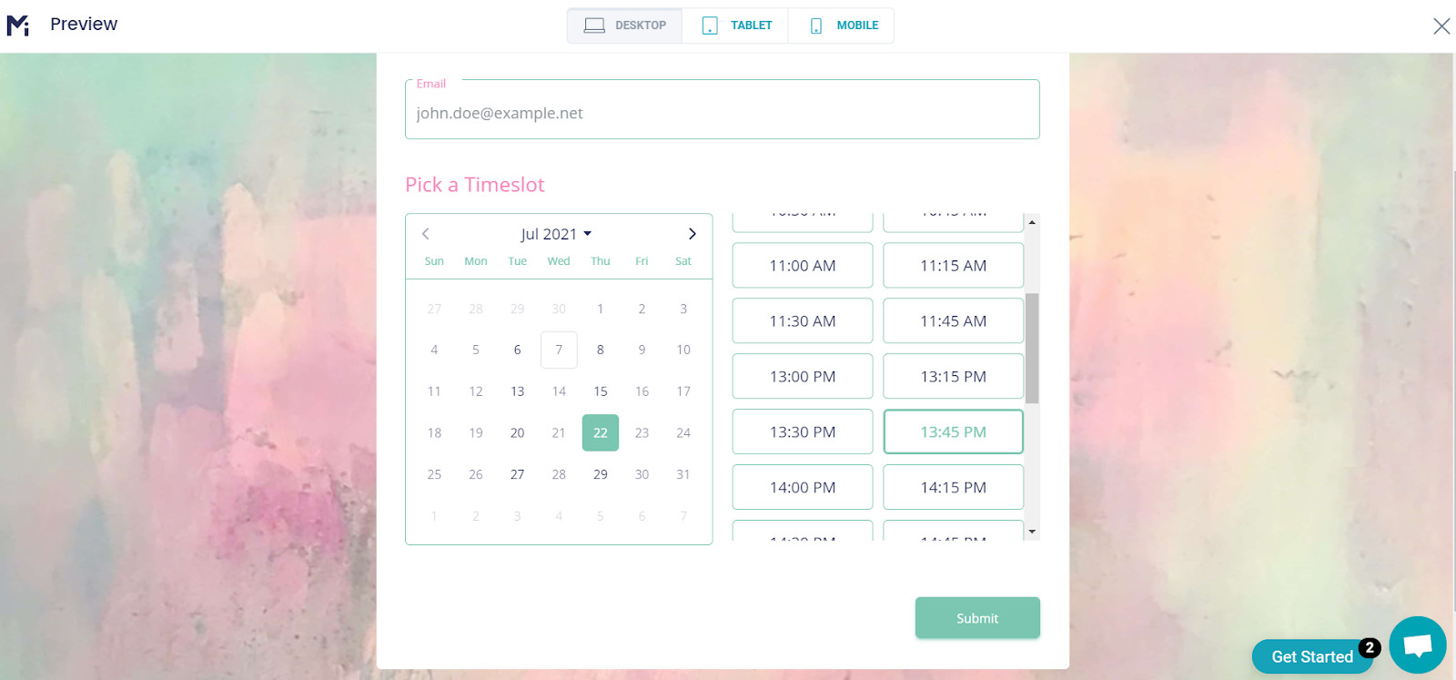 Schedule a timeslot example in MightyForms