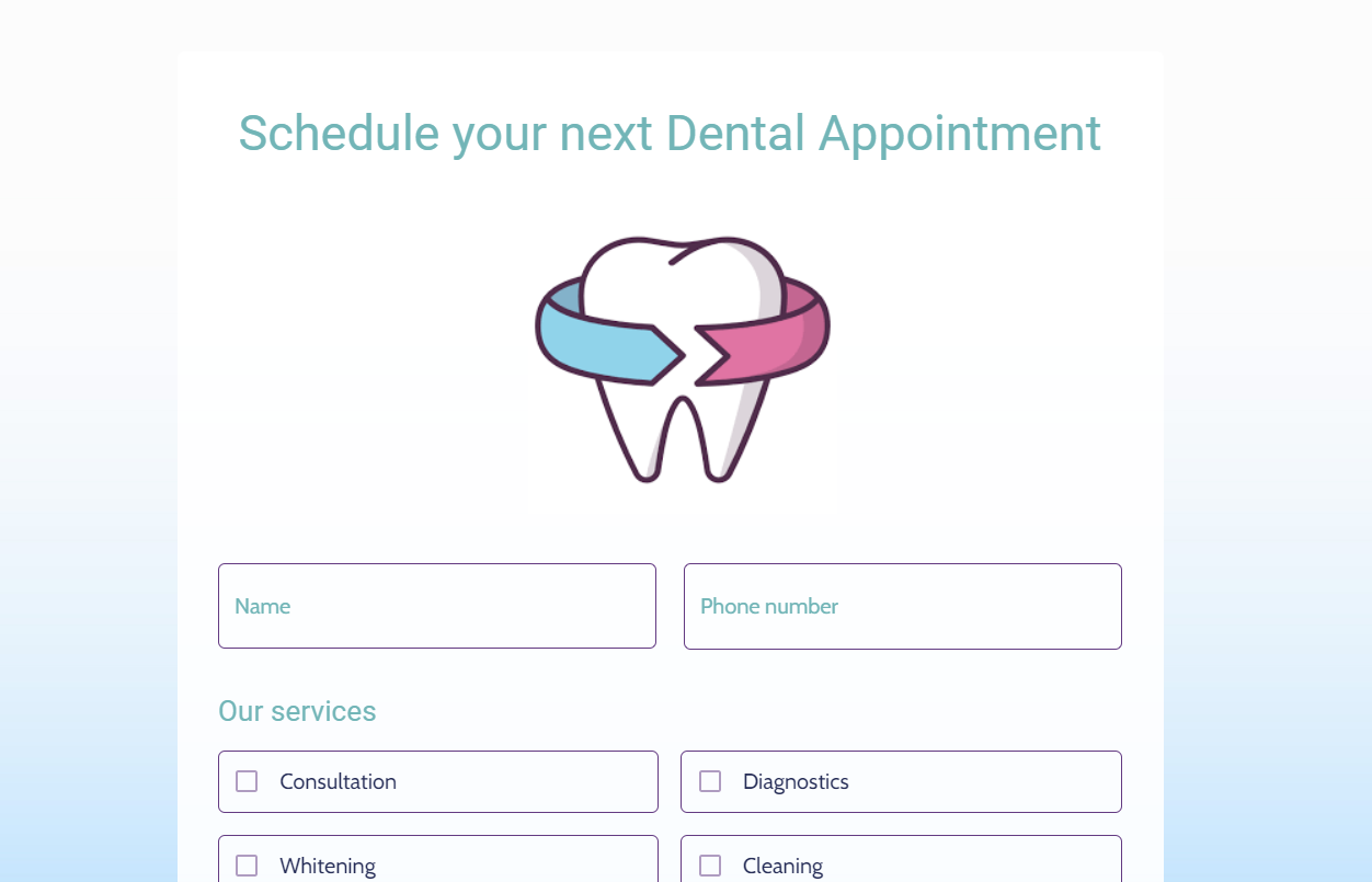Dentist appointment form template - MightyForms