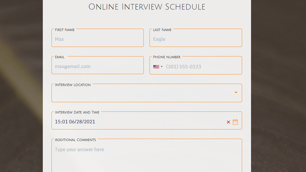 Online Interview Schedule form template - MightyForms
