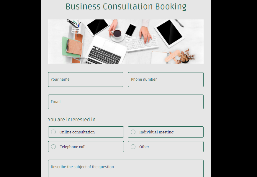 Business Consultation form template - MightyForms