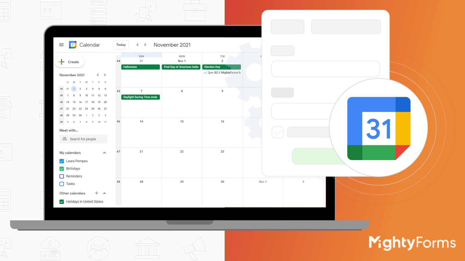 Google Calendar integration with MightyForms online form creator