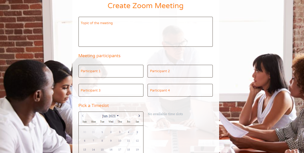 Schedule Zoom meeting form template - MightyForms