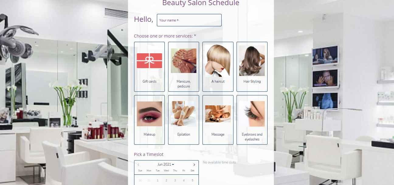 Beauty Salon appointment form template - MightyForms
