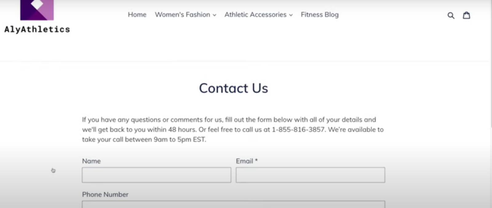 shopify contact us page example