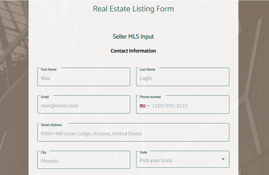 Real Estate Listing Form template - MightyForms