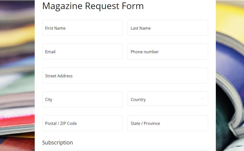 Magazine Request Form template MightyForms.com