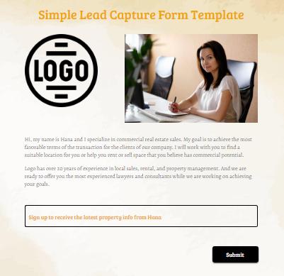 Simple Lead Capture Form Template