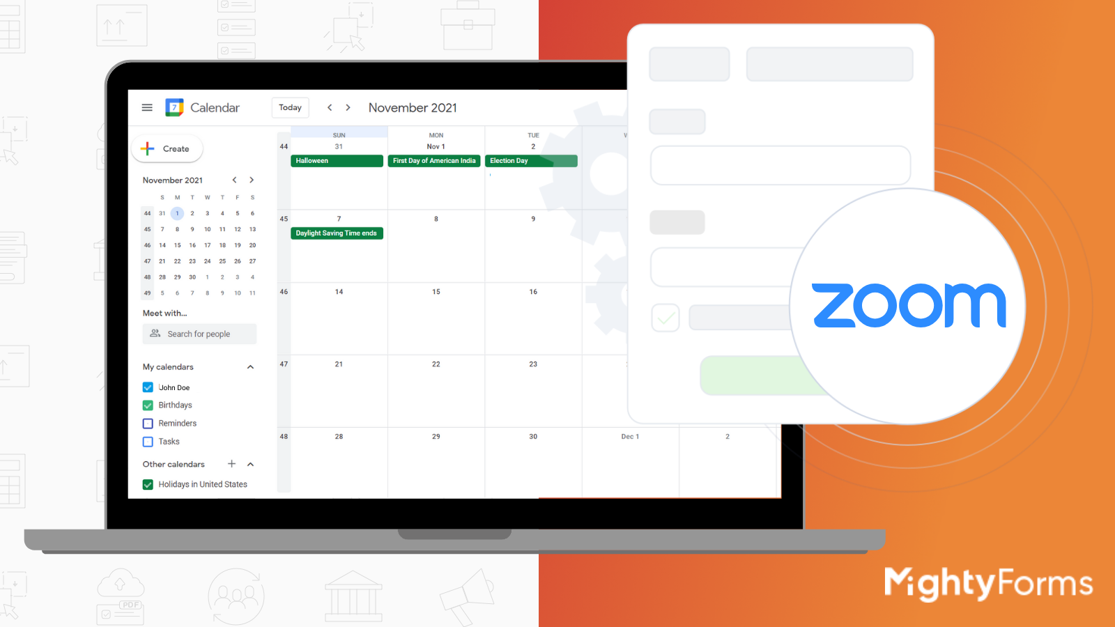 online form builder integration with Zoom and Google Calendar