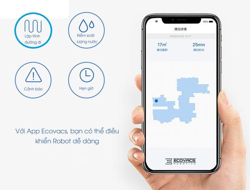 Robot hút bụi Ecovacs DD35 với điều khiển qua app