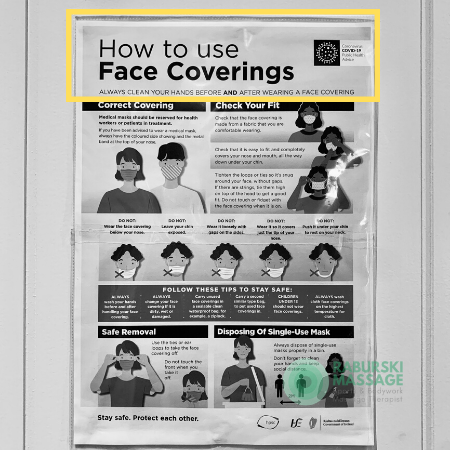 A COVID19 posters demonstrating how to put on a face covering
