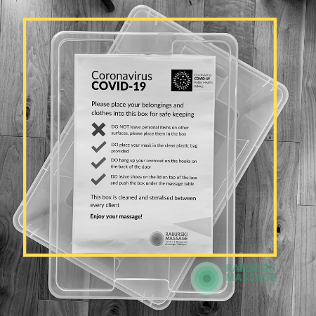 COVID19 Plastic box with instructions to visitors on storing their belongings safely
