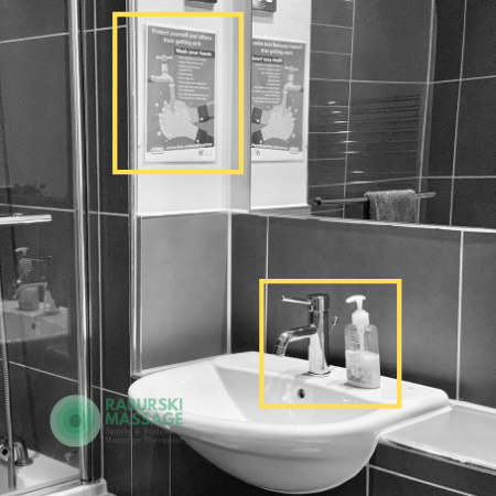 A wash hand sink and handsoap with a COVID19 poster reminding visitors to wash their hands