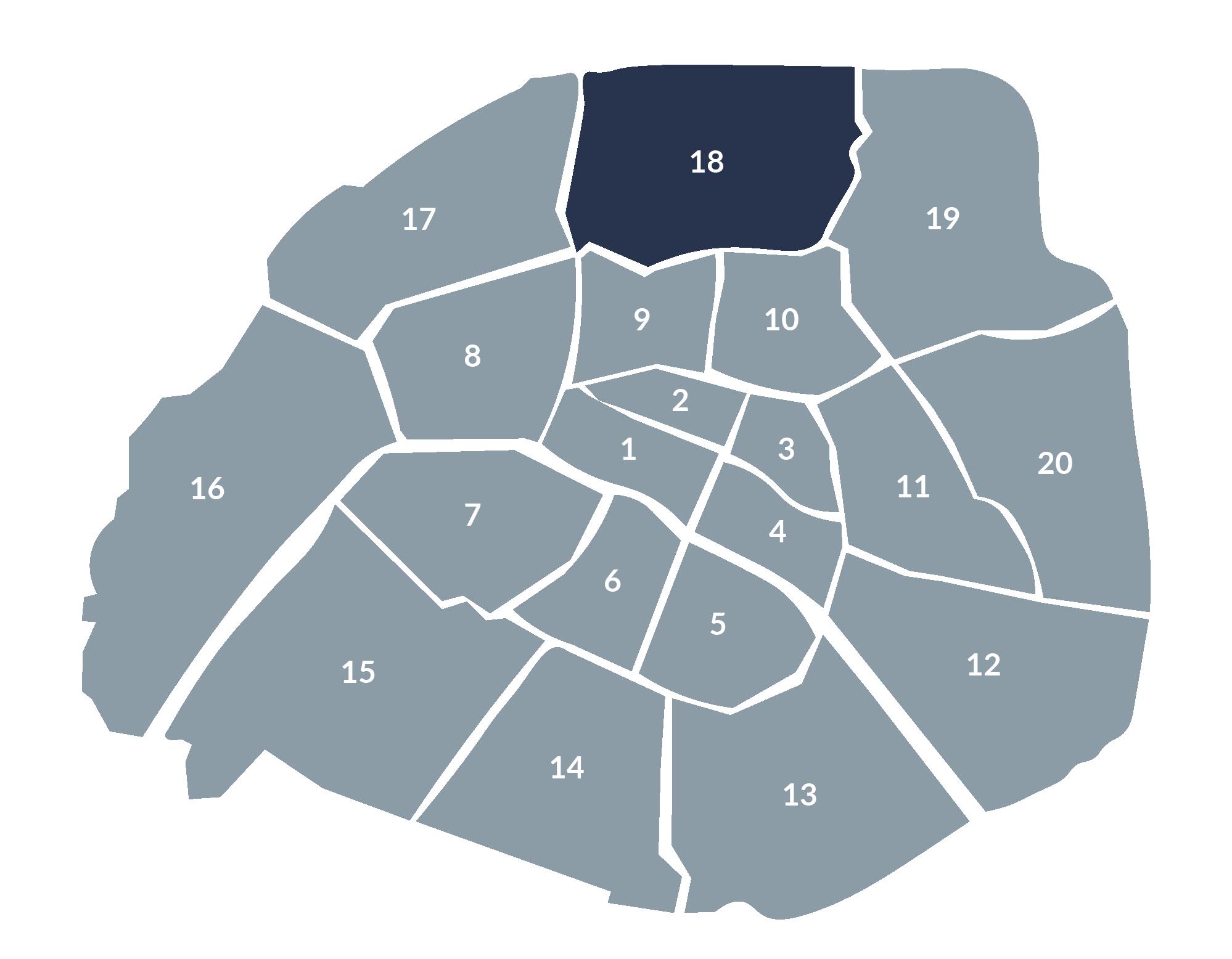 carte paris 18e arrondissement