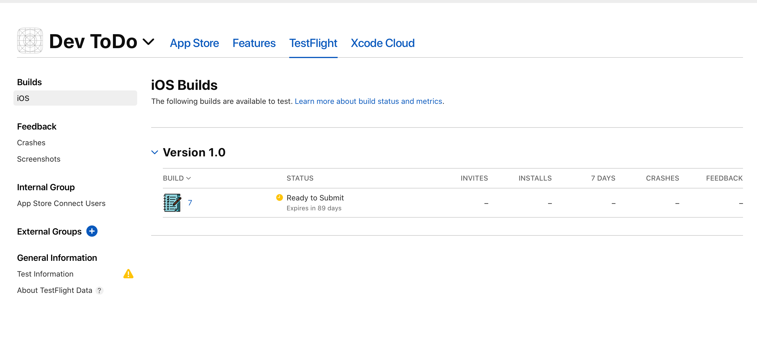 The available build in TestFlight