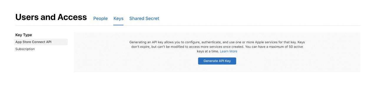Generate API key window