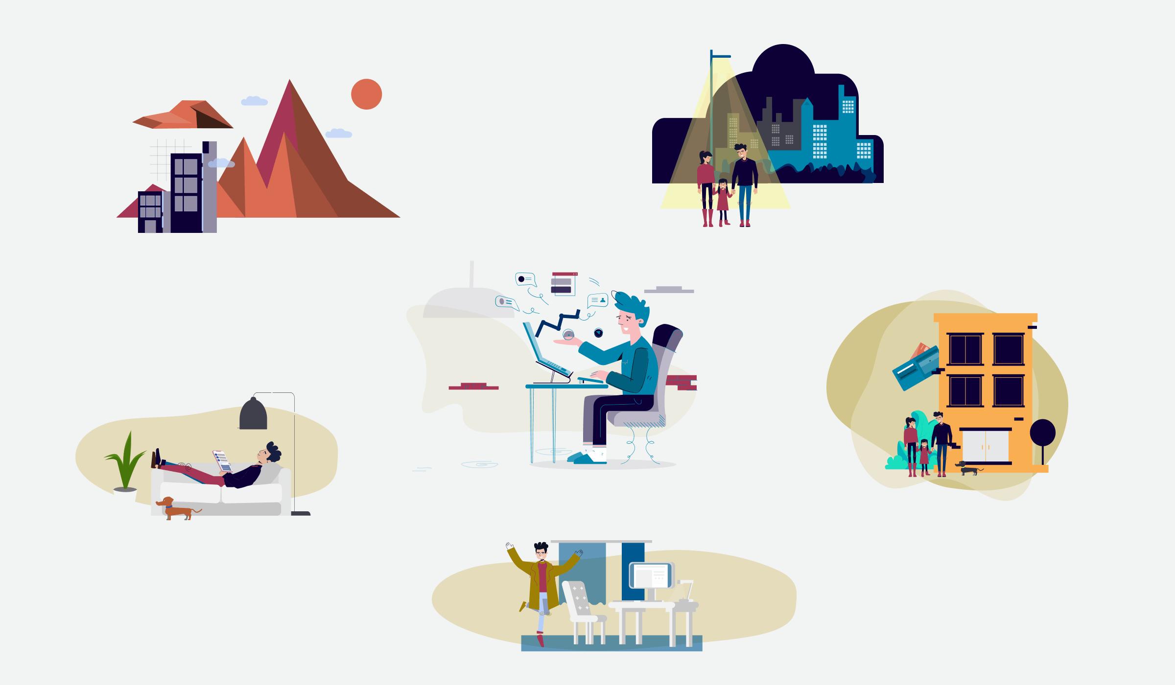 zestaw grafik wykorzystanych na stronie Objective Finance