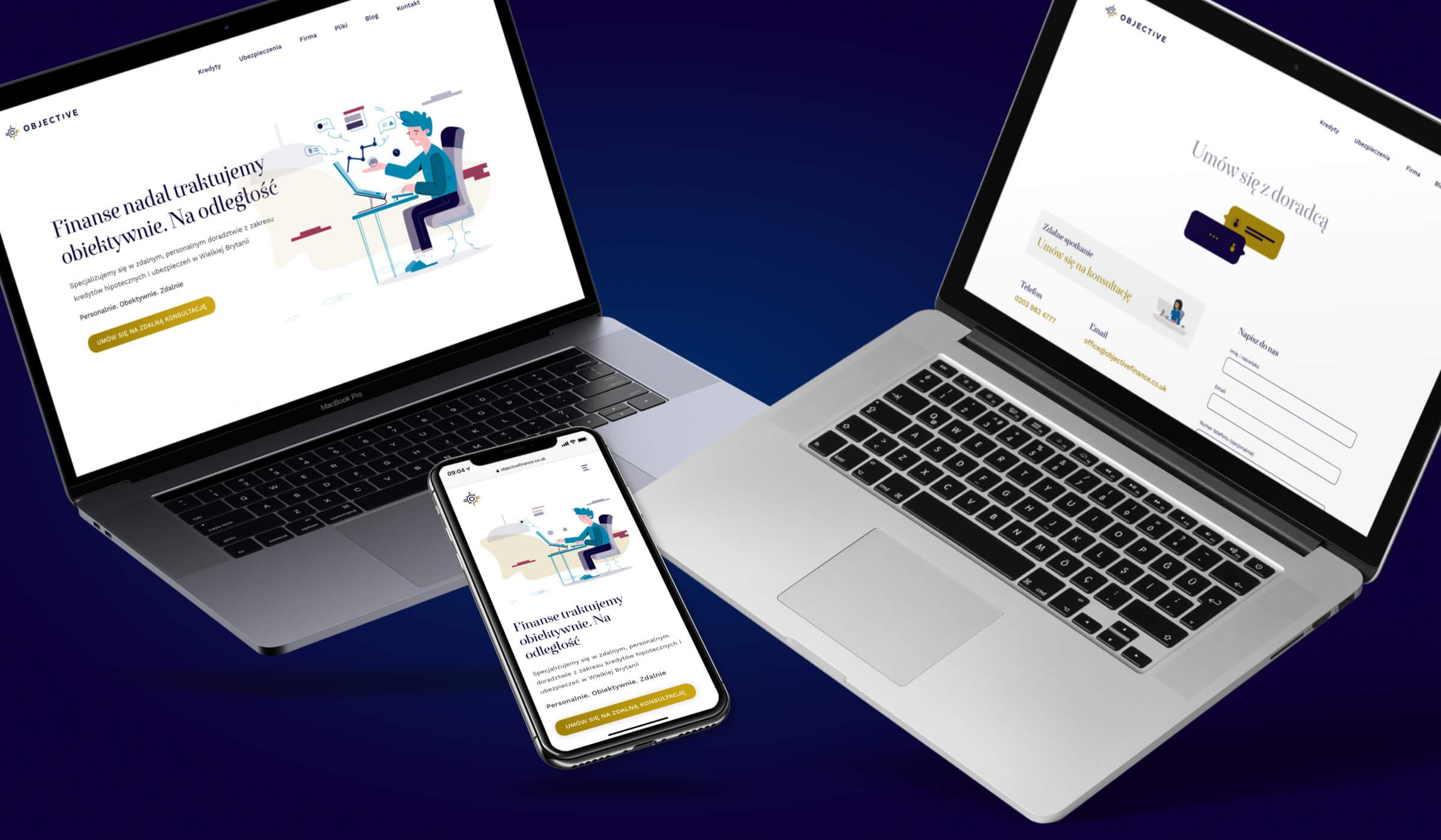 prezentacja responsywnej strony Objective Finance na komputerze i telefonie,