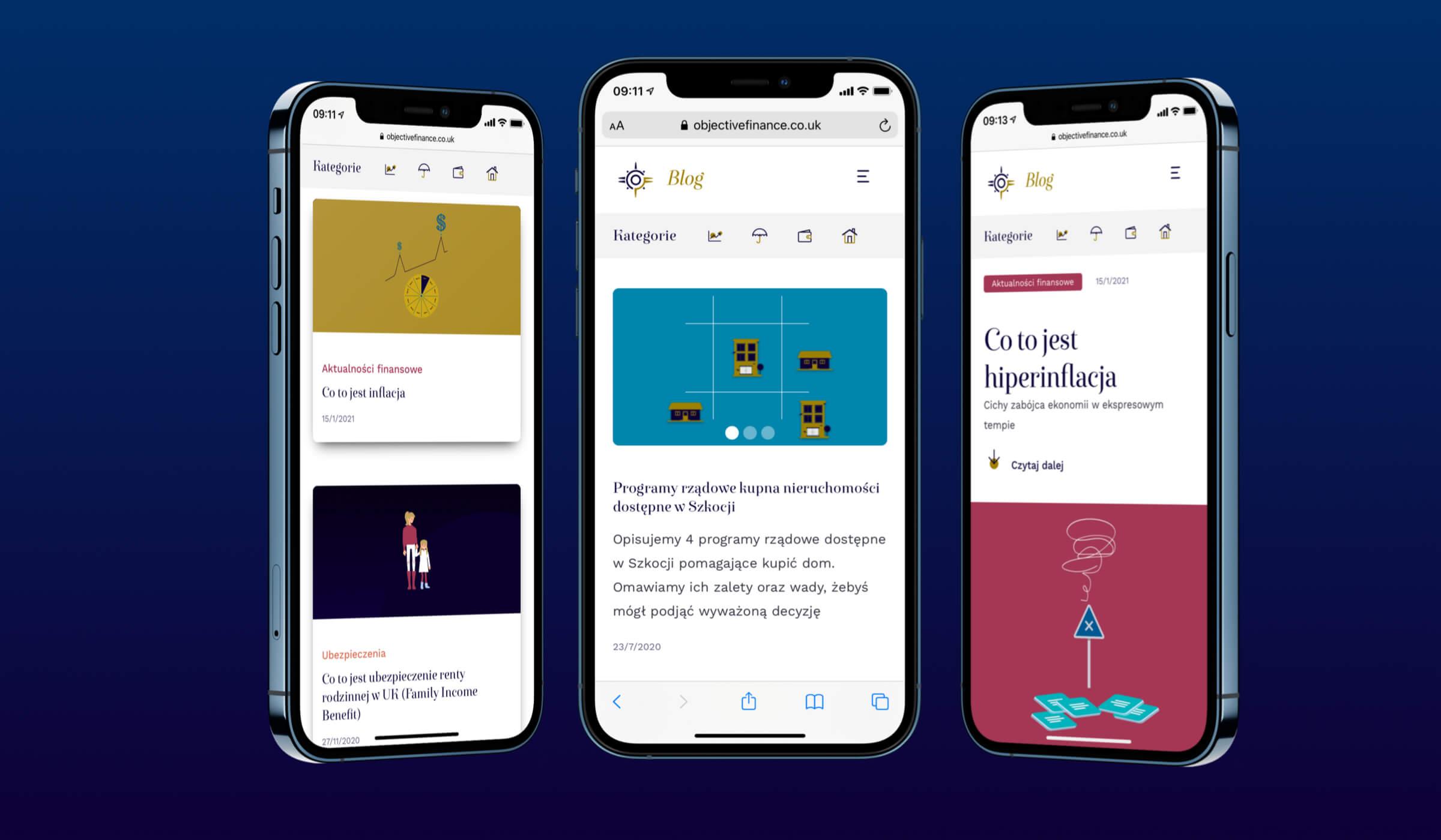 Objective Finance strona mobilna 3 widoki na iPhone