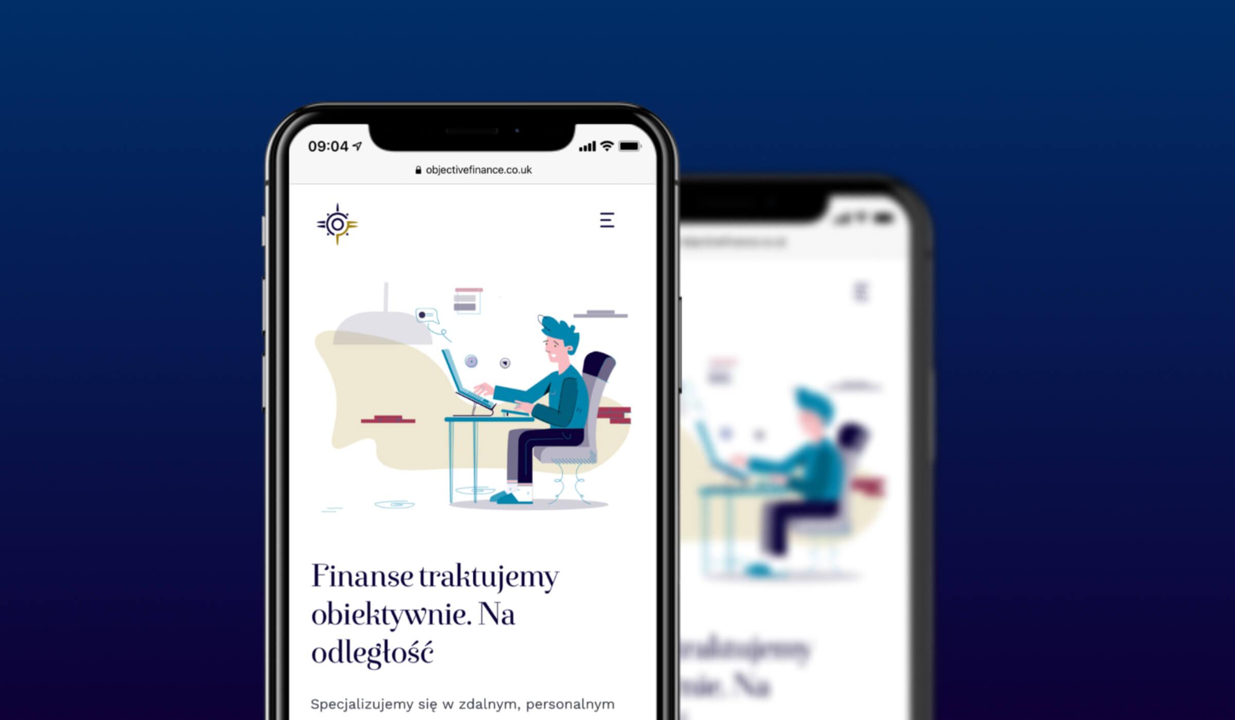 Objective Finance strona mobilna mockup