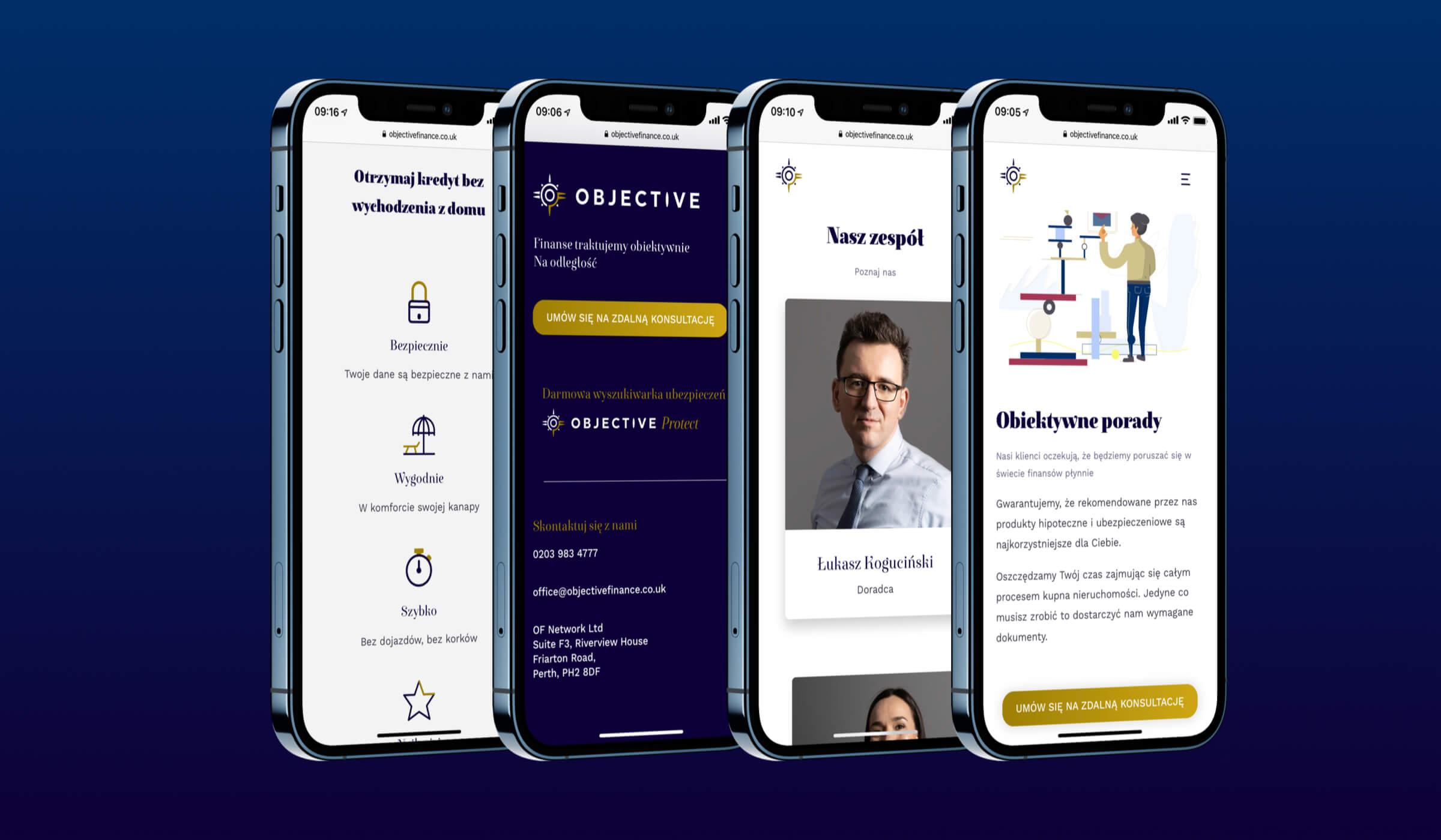 Objective Finance strona mobilna 4 widoki na iPhone