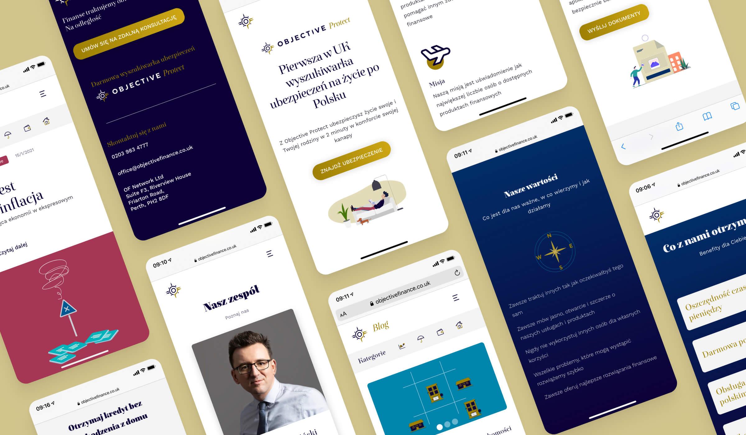 Objective Finance, galeria widoków projektu UI strony internetowej